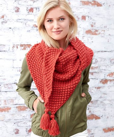 red berries shawl with tassels
