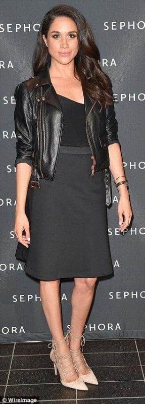 meghan markle wearing a black leather jacket