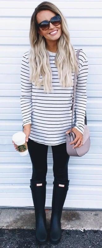 woman wearing a breton long sleeve tee