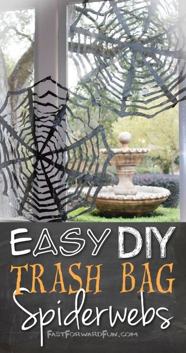 Easy DIY trash bag spiderwebs