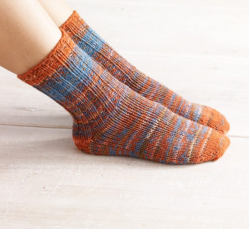 Knit-Pattern-Womens-Double-Strand-Toe-Up-Socks-L0703-a