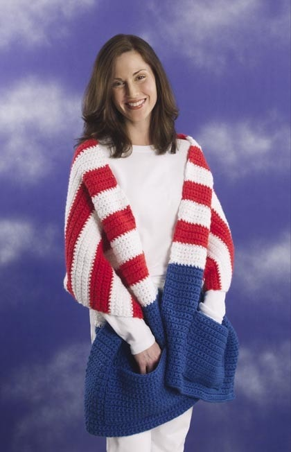 USA flag throw knitting pattern