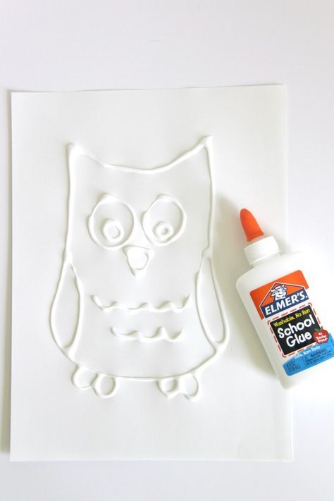 glue resist drawing of an owl