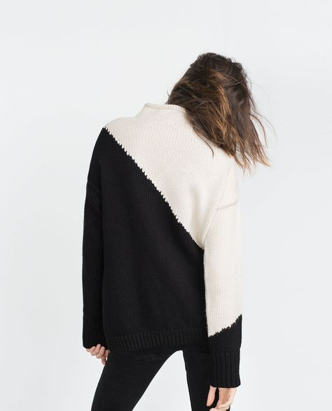 Colourblock knit sweater in two colours