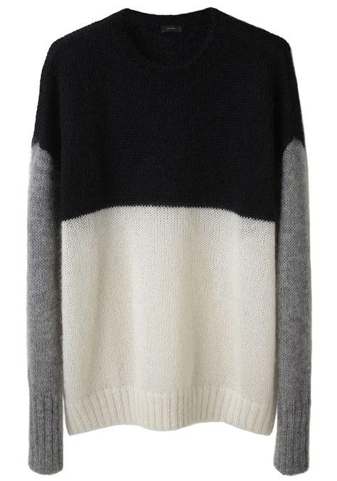 Colourblock sweater in black, grey and white