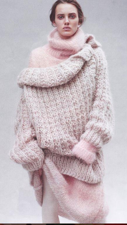 Large pink oversized knit sweater
