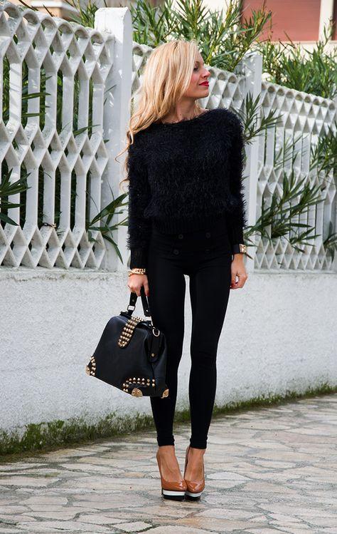 girl wearing a black hairy knit sweater