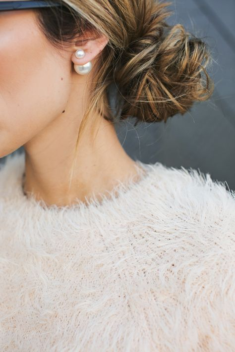eyelash yarn knit sweater in cream