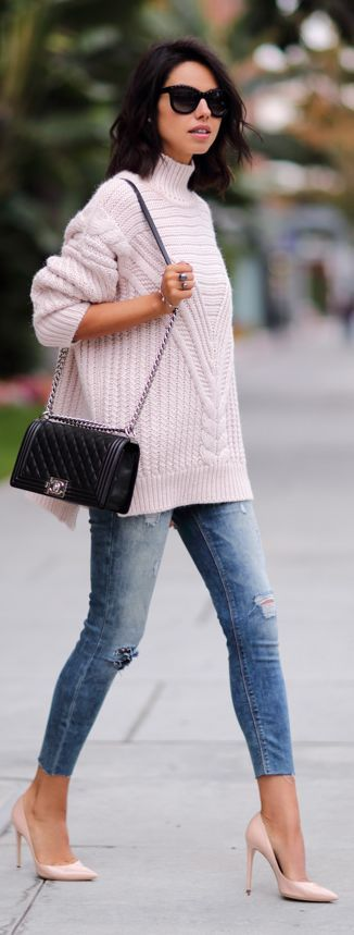 Pink knitted cable sweater