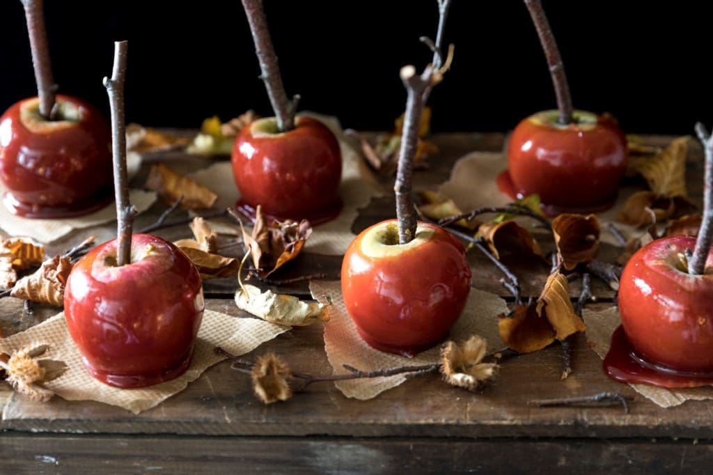 caramel apples with twigs and leaves
