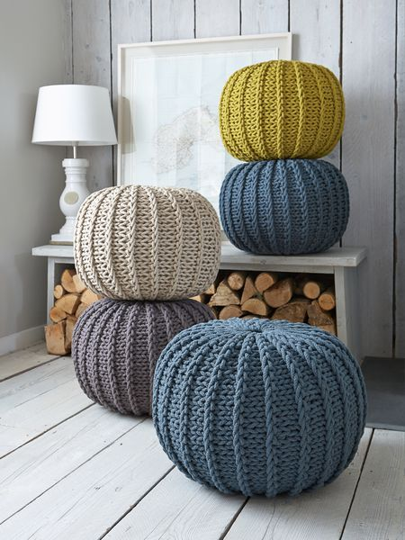 knitted poufs for the living room