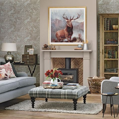 Plaid living room interior with stag painting