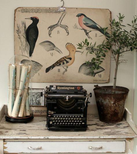 workspace with bird illustration and typewriter