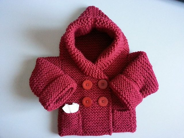 red knitted baby hoody