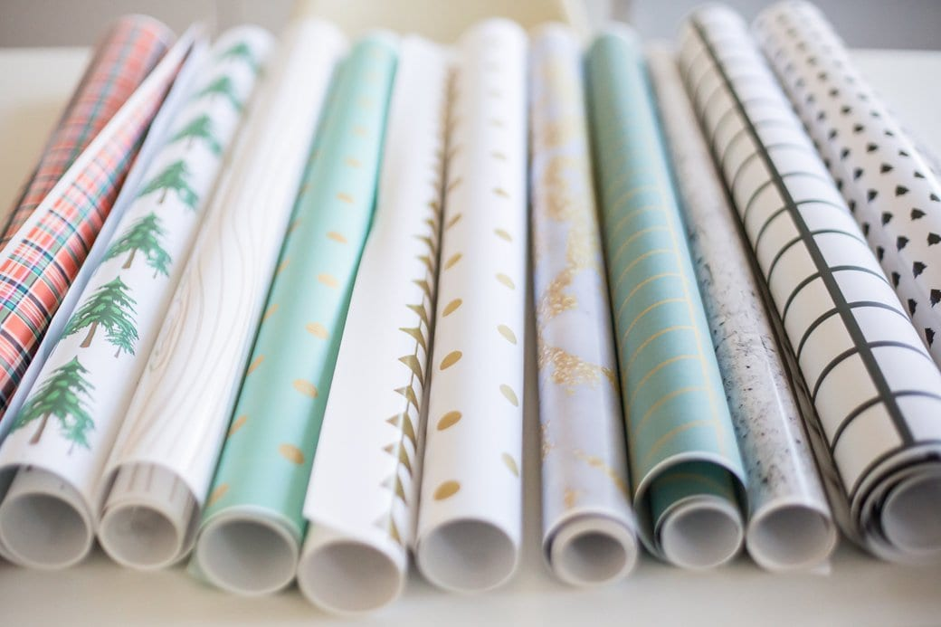 Gift wrap in many colours and patterns