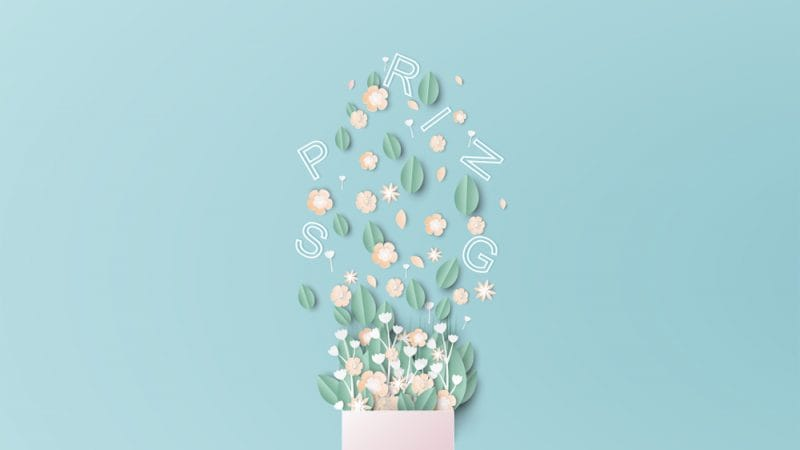 paper cut flowers and spring lettering