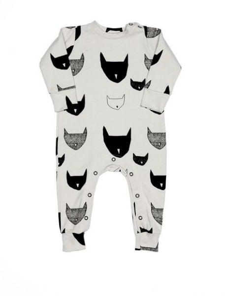 Cat print baby romper
