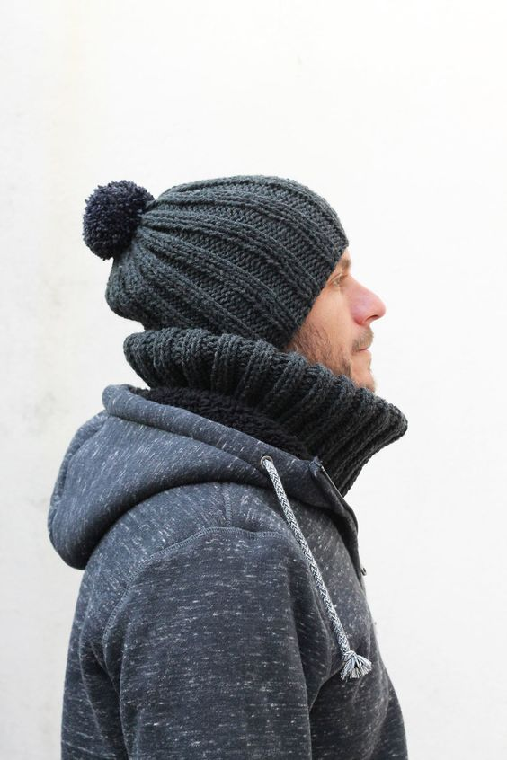 mens knit hat grey