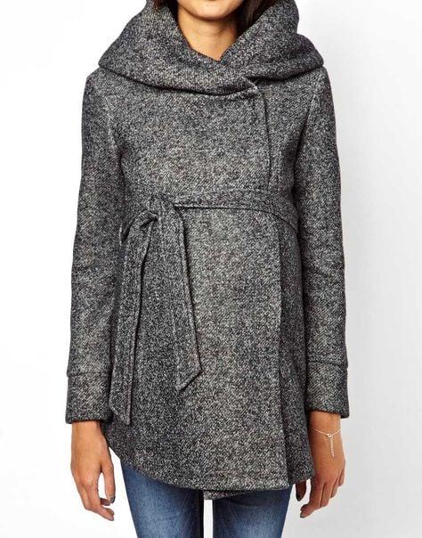 Grey wool maternity capsule wardrobe coat
