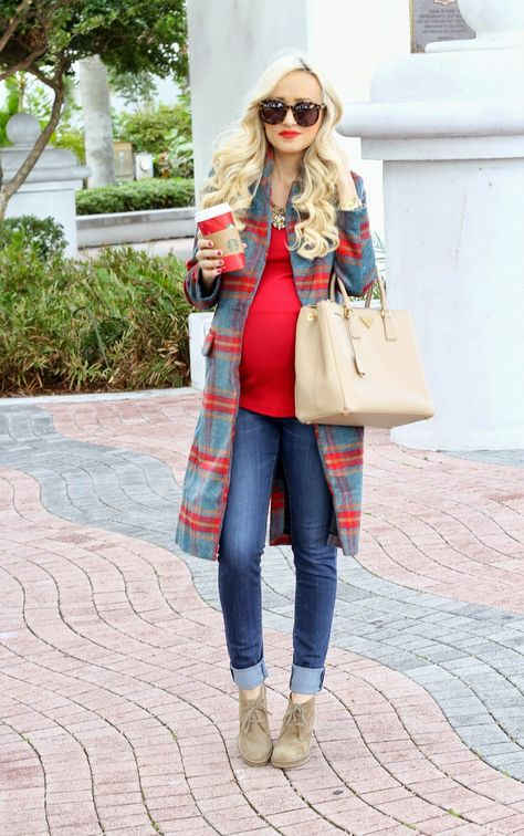 red top and checked plaid coat for maternity style ideas