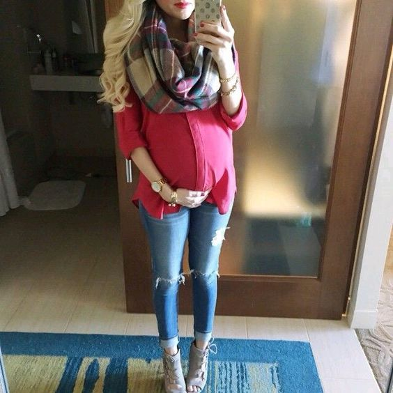Maternity outfit ideas including shirts and tops for the winter