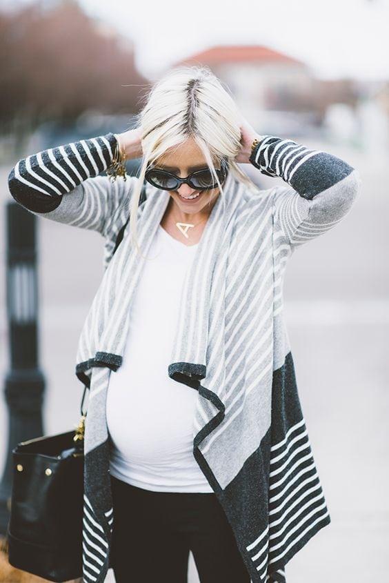 Waterfall knitted cardigan maternity capsule wardrobe staple