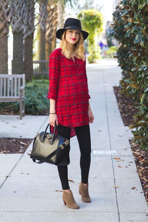 plaid shirt dress outfit maternity capsule wardrobe
