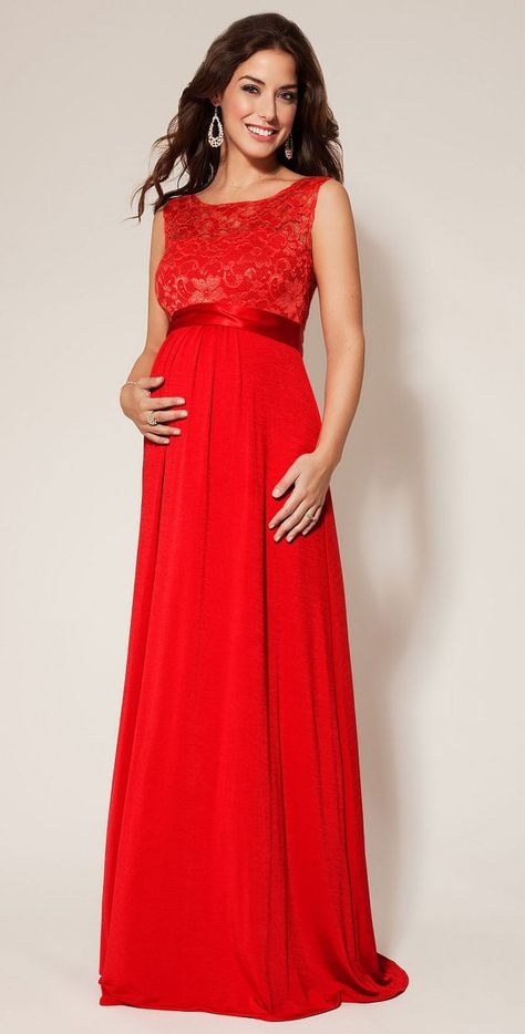 red maternity evening gown with lace