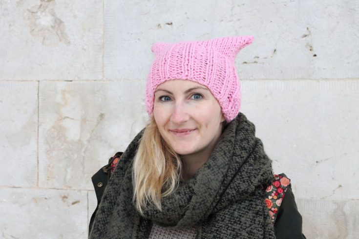 Pink Cat Hat Free Knitting Pattern