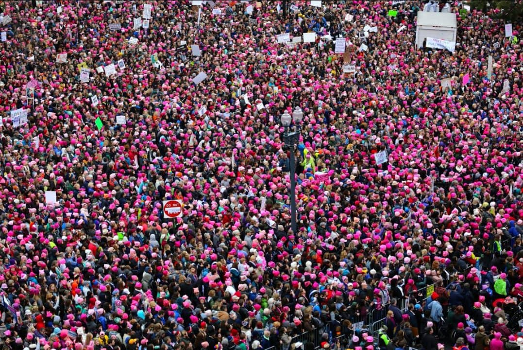 The sea of pink - knitted pink pussy hats at the march on January 21st 2017.