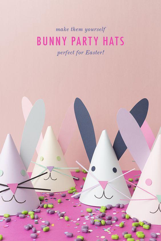 Easter bunny paper hats DIY