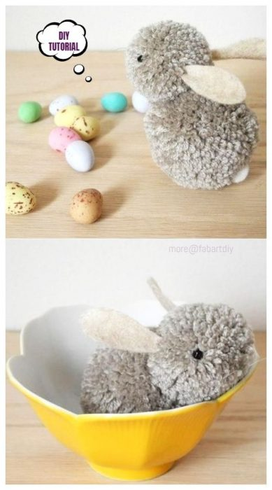 Easter bunny made from pom poms