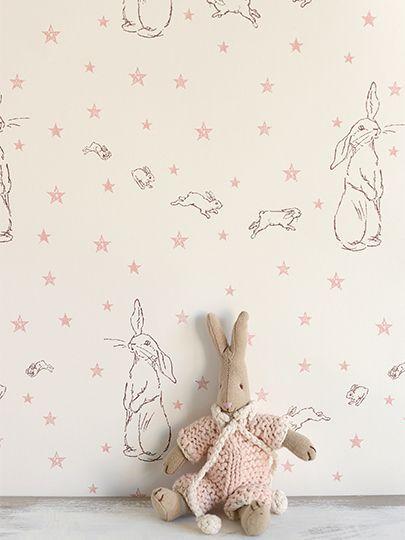 bunny wallpaper in the nursery