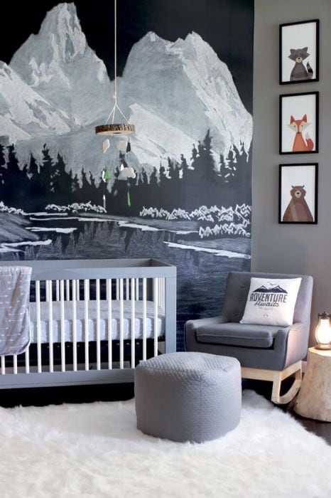 mountain wall decal in the nursery