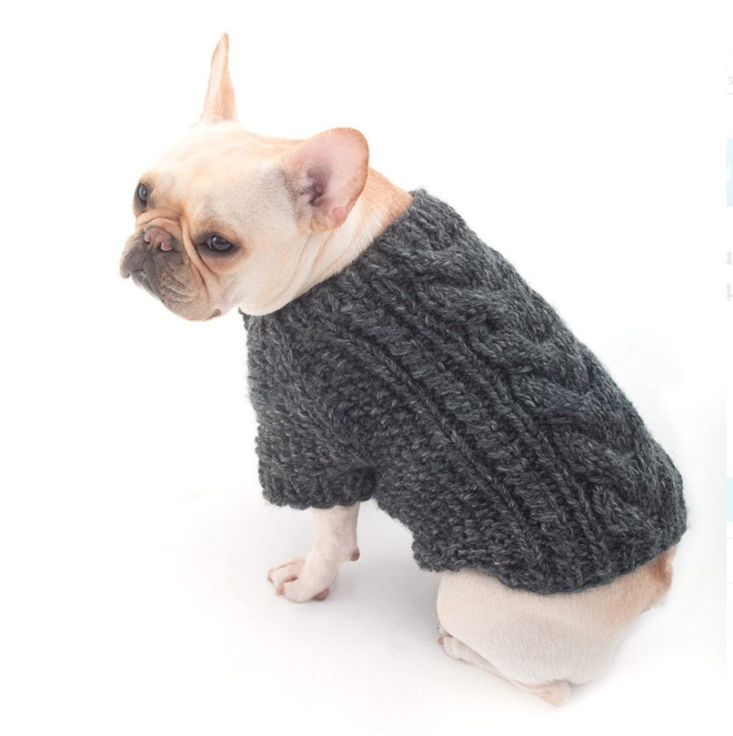 cabled design dog sweater