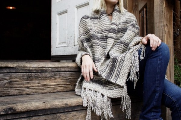 knitted blanket wrap scarf with fringe
