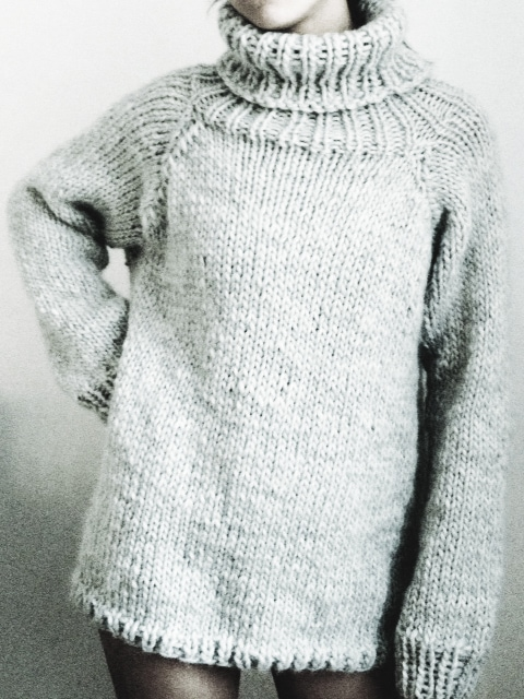 Baggy polo neck winter sweater