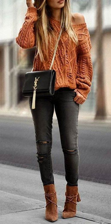 Cable knit sweater outfit idea