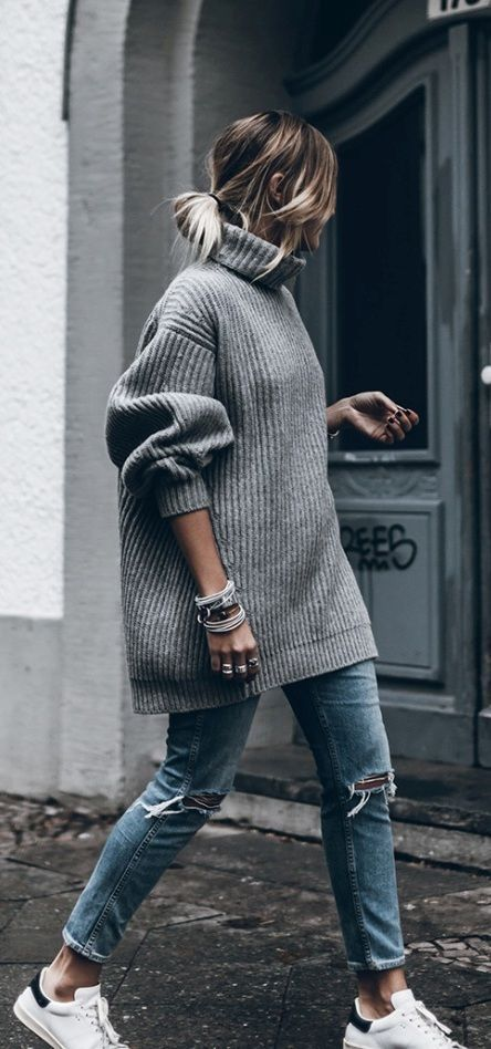oversized grey knitted sweater