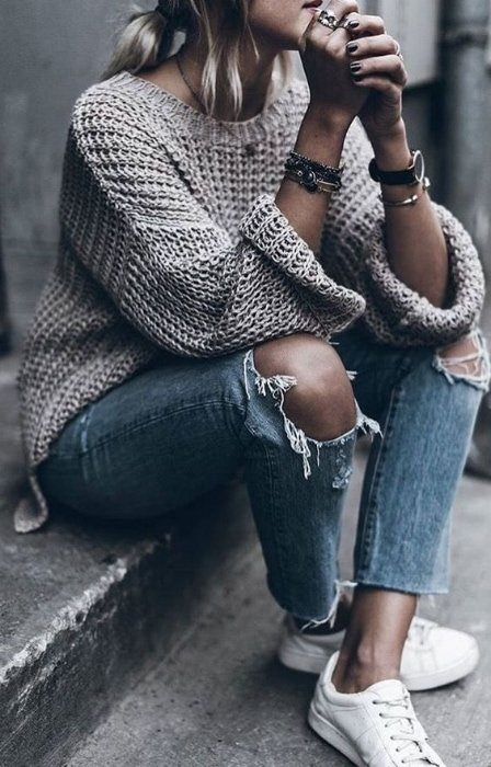oversized sweaters with jeans outfits