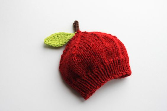fall knits for kids red apple hat