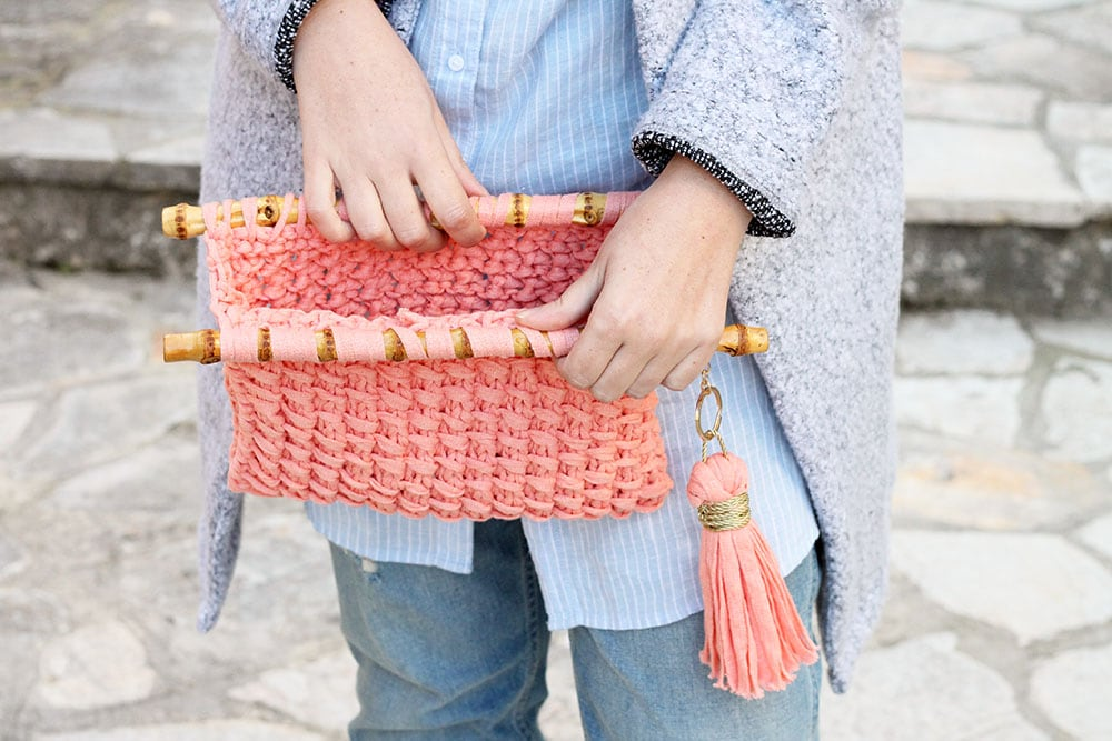 Easy knit clutch bag pattern