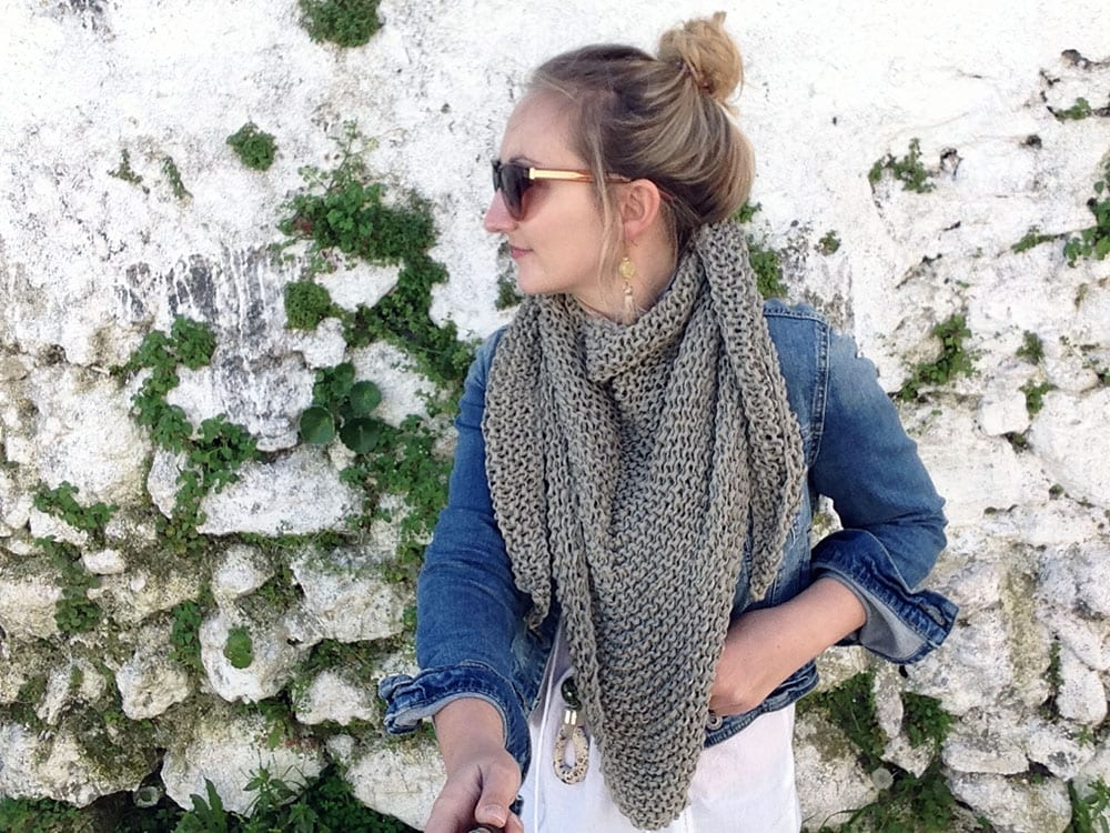 woman wearing a triangle scarf