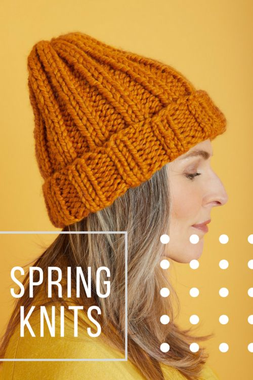 knit hat in marigold