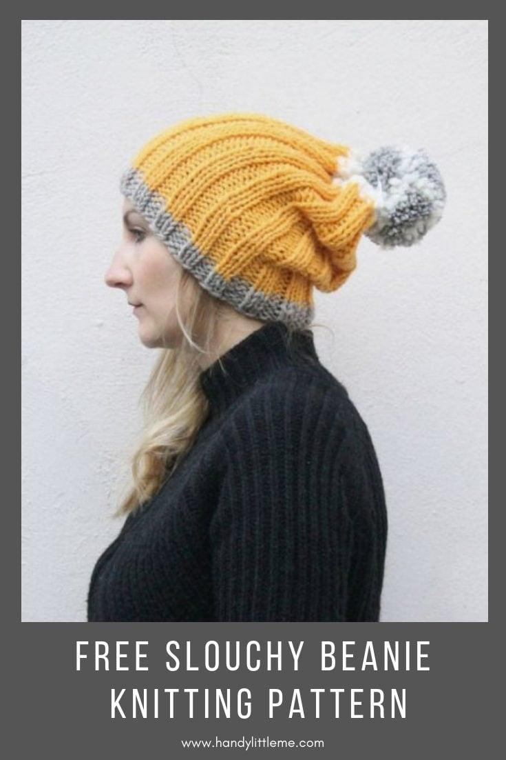 Easy Slouchy Beanie Free Knitting Pattern