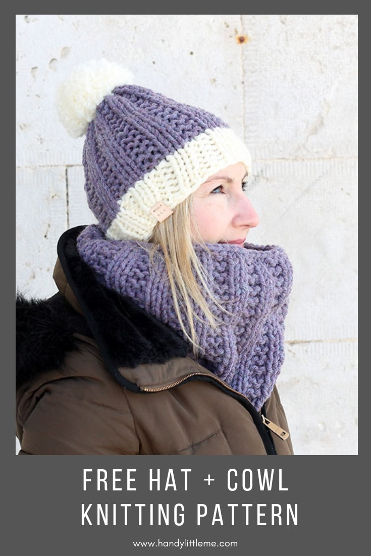 purple knit cowl and hat