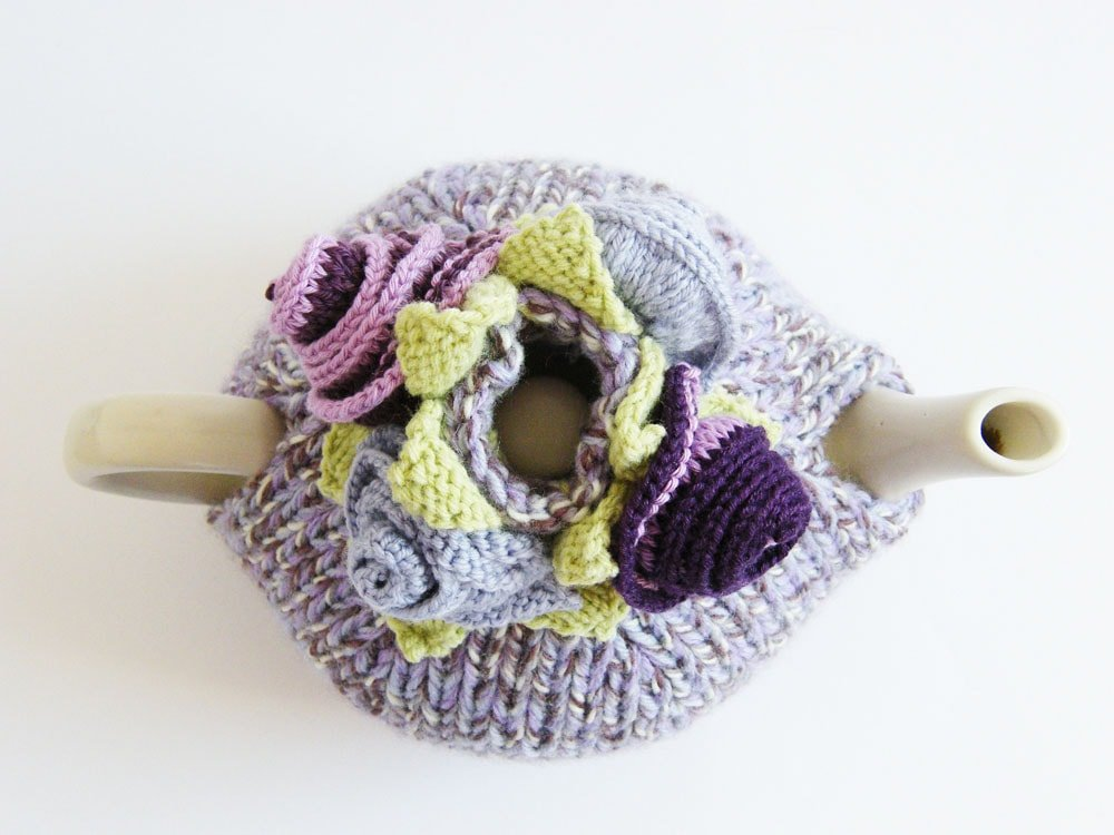 birds eye view of knitted tea cosy
