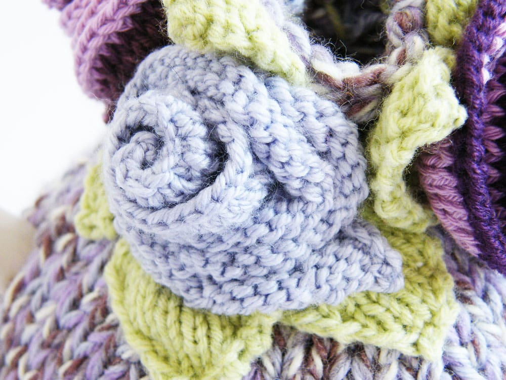 knitted flower close up