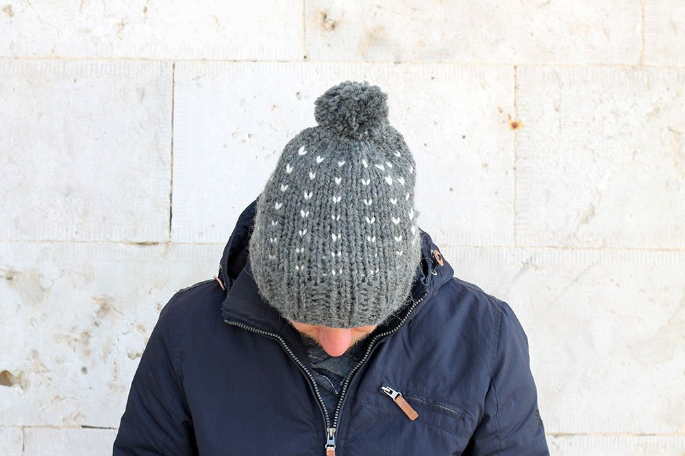 slouchy knit fair isle hat for men