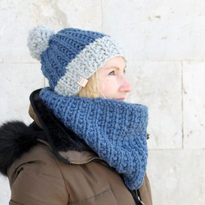 cosy winter hat and cowl set